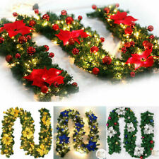 9FT/2.7M Christmas Garland With Light LED Tree Fireplace DIY Decor Door Wreath