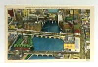 Rochester New York Aerial View Genesee River Bridges Linen Vintage Postcard