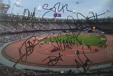 Multi signed inc Usain Bolt Mo Farah 2012 London 12x8 photo UACC AFTAL COA