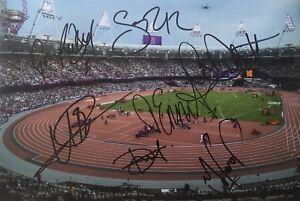 Multi signed inc Usain Bolt Mo Farah 2012 London 12x8 photo UACC AFTAL COA
