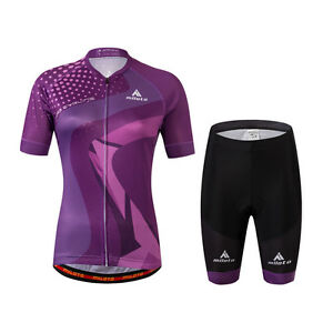Men's / Women's Bike Jersey and Shorts Set Couple Cycling Kit Blue / Purple