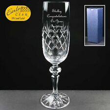 Personalised Cut Glass Champagne Flute Graduation Gift In Gift Box
