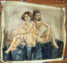 """""""NUDE COUPLE"""" by R.  FREEMAN ACRYLIC ON UN  STRETCHED CANVAS  24"""" X 30"""""""