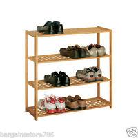 2 Tier or 4 Tier Shoe Rack Storage Organiser Rack Strong Walnut Wood Tidy