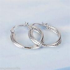 18K White Gold Filled Twist Hoop Earrings (E-297)