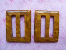 2 MOTTLED CARAMEL BROWN VINTAGE CASEIN BUCKLES SLIDES 37.5mmL x 32.5mmW