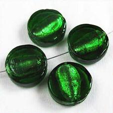 Lot de 4 perles en verre Feuille d'Argent Palets 15mm Vert