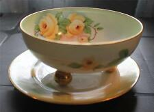 Vintg ZS&Co BAVARIA ROYAL MUNICH Hand Painted YELLOW ROSES Set Footed Bowl Plate