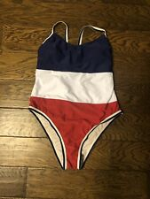 NWOT Xhilaration Red, White And Blue Hi-Cut  One Piece Swimsuit Size L