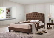 4FT6 DOUBLE JAYDEN LUXURY BROWN CHESTERFIELD FABRIC UPHOLSTRED BED FREE DELIVERY