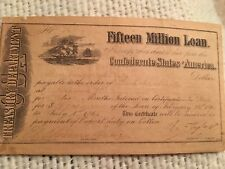 Rare-Confederate $15 million dollar loan certificate-Feb-1861