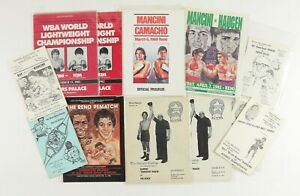 """Lot of 14 Ray """"Boom Boom"""" Mancini Boxing Fight Programs w/ Infamous Kim Fight"""