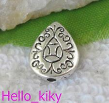 60 pcs Tibetan silver floral teardrop spacers A9734