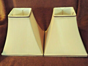 """Lamp Shade Sale - (2) Tailored Square Bell Pair - 9"""" x 9"""" - Tan w/ Brown Detail"""