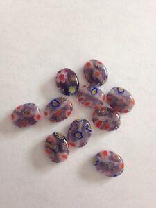 10 8X10mm Flat Oval Purple Red Millefiori Glass Beads L@@K #18