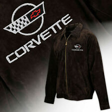 Mens C4 Corvette Logo Regular Length Suede Bomber Jacket BROWN 604821