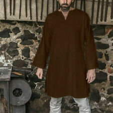 x mas Men's Cotton Viking Horseback Tunic Medieval Long Sleeve Shirt Renaissance
