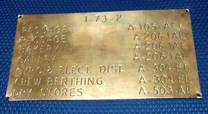 Vintage US Navy Warship Brass Navel Ship Plaque Placard Label,take off original
