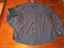 NWT J.Crew Blue Long Sleeve Front Button Cotton Shirt, Large