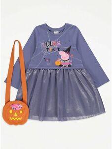 BRANDNEW & UNWORN ( HALLOWEEN PEPPA  PIG & BAG - DRESS ) BRILLIANT COSTUME