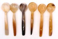 6 cuillères à thé café moka sucre sel... en corne bio artisanat Madagascar 11 cm