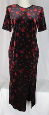 Black Velvet Dress Red Floral Size 12 L Vintage Another Thyme Long