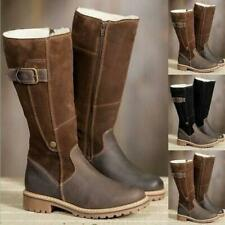 British Womens Military Quilted Warm Suede Leather Buckle Riding Mid-calf Boots