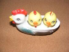 Vintage Ceramic 3 Piece Chick Hen Chicken Holder Salt Pepper Shaker Japan