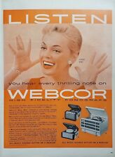 1950s Webcor Turntables Record Electronics Player Peggy King Vintage Print Ad