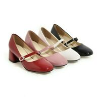 Retro Ladies Mary Jane Square Toe Mid Block Heels Ankle Strap Casual Women Shoes