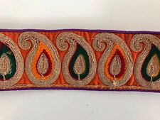 ATTRACTIVE INDIAN COLOURFUL THREAD & GOLD PAISLEY ORANGEVALOUR TRIM/LACE-ONE MTR
