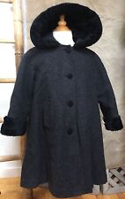 Girls Charcoal Gray WOOL FUR-TRIMMED Dressy Swing Coat HOOD 5 STEPHANIE MATHEWS