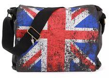Londres Union Jack Bolso De Mensajero | Bolsa De Lona Negro | Robin Ruth Reino Unido | Cartera de colegial Bolso