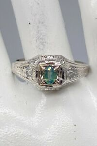 Antique 1920s $5000 .50ct Natural Alexandrite 18k White Gold Mens Ring Band