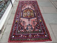 Vintage Shabby Chic Worn Hand Made Traditional Oriental Wool Pink Rug 248x114cm