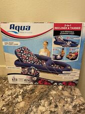 Aqua 2-in-1 Recliner Tanner Pool Lounger w/Adjustable Removable Accessory Caddy