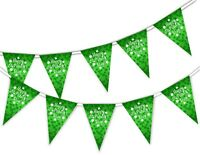 Happy St Patrick Day on Clovers Pattern - Bunting Banner 15 flags Green Ireland