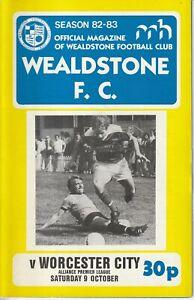 Wealdstone v Worcester City 9 Oct 1982 Alliance Premier Football Programme