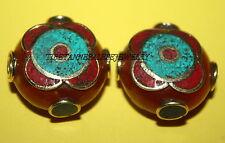 Nepal beads 2 Nepalese Bead Tibet Beads handmade beads Amber turquoise beads B74
