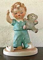 Vintage Goebel Hummel Figurine Sleepyhead Boy W/Bear Charlot Byi 1957 W Germany