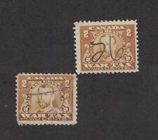 Canada FWT8 - War Tax. Used. 2 Singles.  #02 CANFWT8