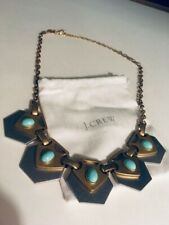 Chain Link Statement Gold Necklace J Crew Turquoise Two Toned 22�