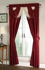 Burgundy Beige Satin Waterfall Window Curtain Panels Tie Back Set