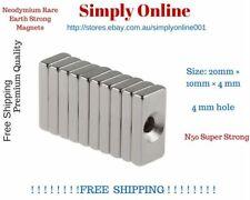 Super Strong Block Magnets 20x10x4mm Hole 4mm Rare Earth Neodymium N50