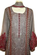 Brown Grey Gold Embroidery Dress Kurta Shalwar Kameez Suit Bollywood Pakistan XL