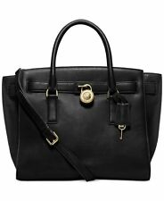 NWT MICHAEL Michael Kors Hamilton Large Traveler BLACK Leather Handbag