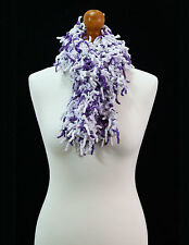 Hand knitted long white and purple mop scarf