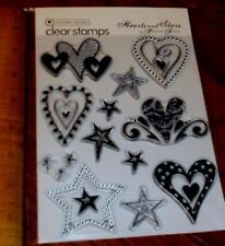 CLEAR  AUTUMN LEAVES STAMPS Rhonna Farrer ~ HEARTS & STARS wks CTMH blk