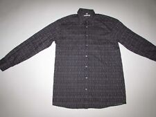 Georg Roth Men's Button Front Shirt Size 40 / Medium Long Sleeves Black White LS