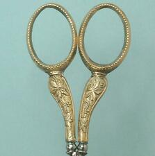 Antique Gilded Silver Ginseng Pattern Embroidery Scissors * French * Circa 1880